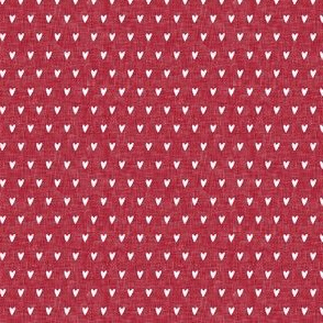 (micro scale) hearts on red linen || valentines day C18BS