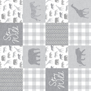 Stay Wild - Safari Wholecloth - Grey w/plaid (90)