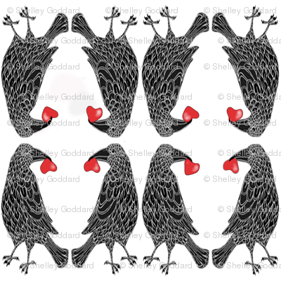 Large Ravens with Hearts