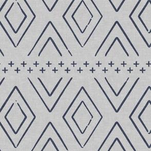farmhouse diamonds - blue/grey