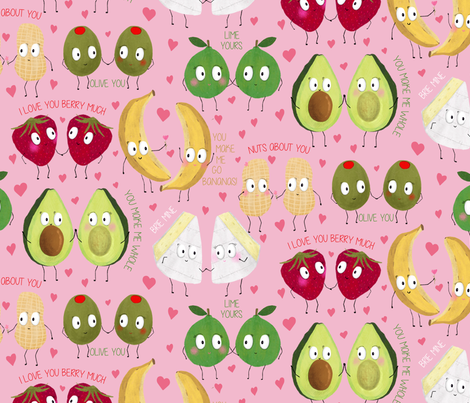 Valentine Puns fabric by red_raspberry_design on Spoonflower - custom fabric