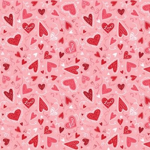 Love Hearts on Pink