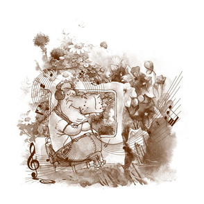 large hippo travel music flowers sepia brown and white