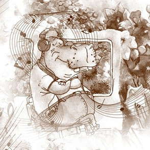 hippo travel music flowers staggered brown and white sepia watercolor