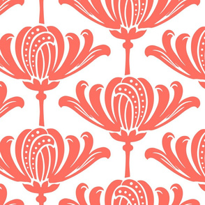 Art Deco Stylized Floral in Living Coral on white