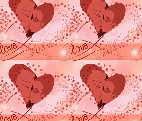 Valentine's Day love, kissing couple fabric by friedlosundstreitsuechtig on Spoonflower - custom fabric