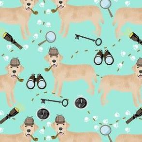 labrador detective holmes fabric - detective spy fabric, labrador fabric, - mint