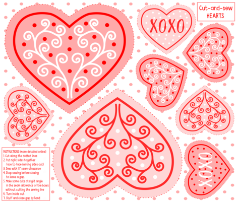 Cut and sew hearts fabric by wellwellpatterns on Spoonflower - custom fabric