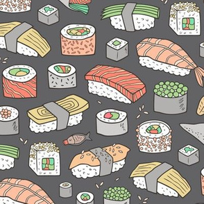 Sushi on Dark  Grey