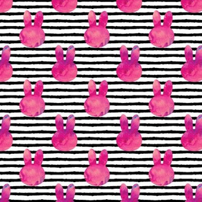 """(1.5"""" scale) bunny on stripes    watercolor dark pink C18BS"""