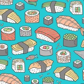 Sushi on Aqua Blue