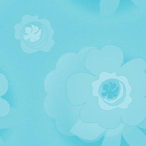 Turquoise Monochrome Flowers