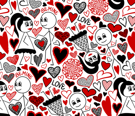 Stick Figures in Love fabric by elsy's_art on Spoonflower - custom fabric