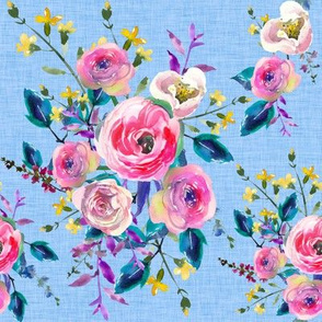 Blue Watercolor Floral on Linen Spring Floral Summer Floral Pastel Pink