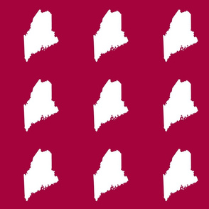 "Maine silhouette - 6"" white on cranberry red"