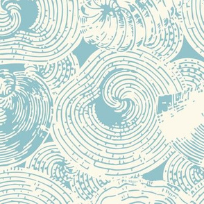 Shells and Organic Shapes in Cream and Blue-Green