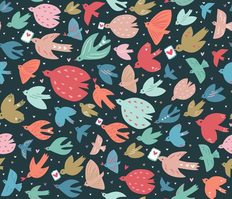 Sending love (birds) fabric by rosalindmaroneyillustration on Spoonflower - custom fabric