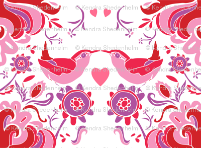 Valentine's Day Birds in Pinks, Reds and Purple