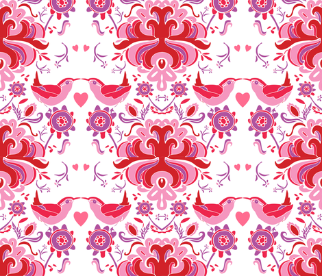 Valentine's Day Birds in Pinks, Reds and Purple fabric by kendrashedenhelm on Spoonflower - custom fabric