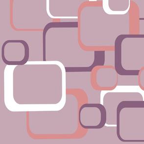 Retro Squares Pattern Pink Purple White