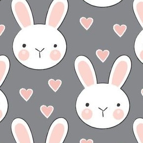 bunny-faces with-vintage-pink hearts-on-charcoal