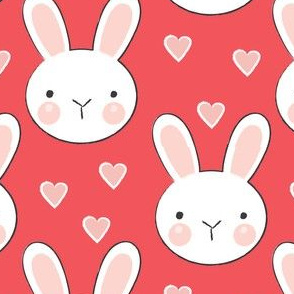 bunny-faces-with-vintage-pink hearts-on-red