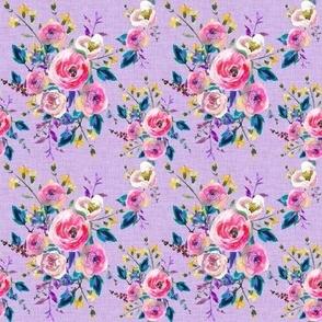 Watercolor Floral on Purple Linen Easter Floral Spring Floral Summer Floral