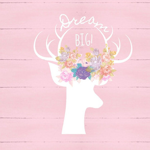floral white deer silhouette on rustic wood XL19  -arch pink