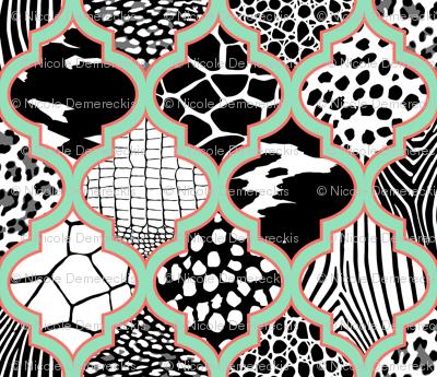 Moroccan Animal Prints Mint Coral