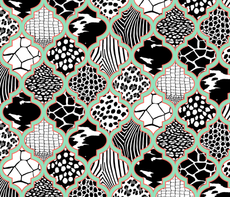 Moroccan Animal Prints Mint Coral fabric by wickedrefined on Spoonflower - custom fabric