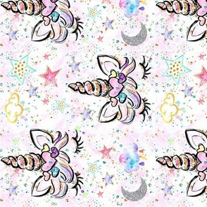 Rotated Unicorn hearts white confetti sparkles glitter-ed