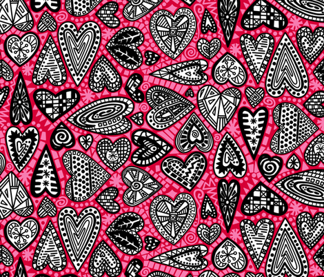 hearts fabric by lalalamonique on Spoonflower - custom fabric