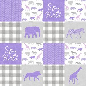 Stay Wild - Safari Wholecloth - Purple w/ plaid