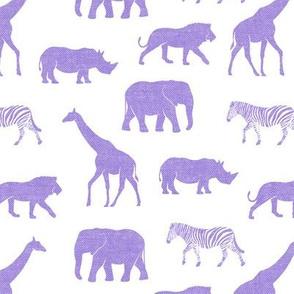 Safari animals - purple - elephant, giraffe, rhino, zebra