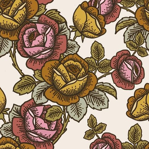 Vintage roses in gold, ochre and pink