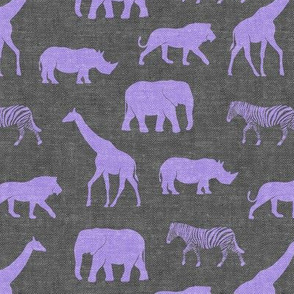 Safari animals - purple on grey - elephant, giraffe, rhino, zebra