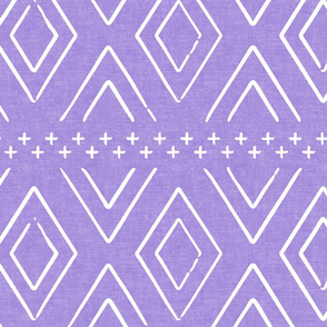 Safari Wholecloth Diamonds on Purple - farmhouse diamonds - mud cloth fabric