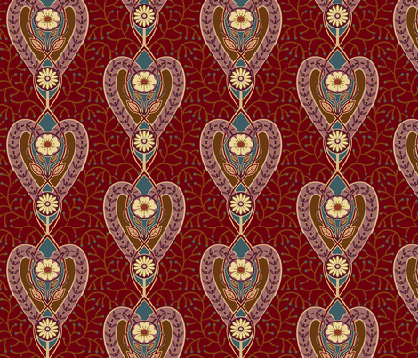 Heart Nouveau fabric by lily_studio on Spoonflower - custom fabric