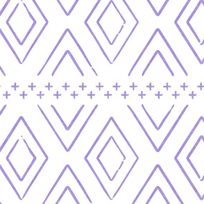 Safari Wholecloth Purple Diamonds - farmhouse diamonds - mud cloth fabric