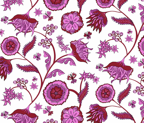 Hearts and Flowers fabric by warpedspinster on Spoonflower - custom fabric