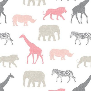 Safari animals - multi pink - elephant, giraffe, rhino, zebra