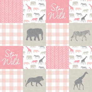 Stay Wild - Safari Wholecloth - Pink w/ plaid