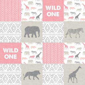 Wild One- Safari Wholecloth - pink