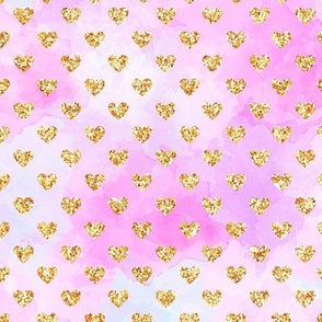 Pink Gold Glitter Hearts