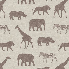 Safari animals - brown on beige - elephant, giraffe, rhino, zebra