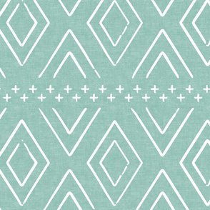 Safari Wholecloth Diamonds on Dark Mint - farmhouse diamonds - mud cloth fabric