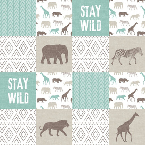 Stay Wild - Safari Wholecloth - Dark Mint & Brown