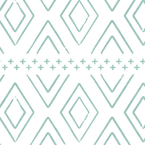 Safari Wholecloth Diamonds in Dark Mint - farmhouse diamonds - mud cloth fabric
