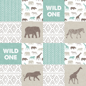 Wild One - Safari Wholecloth - Dark Mint and Brown