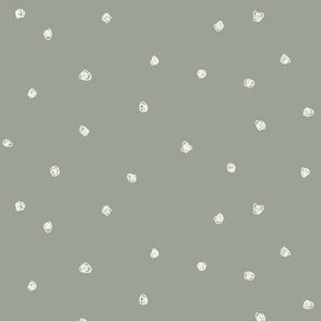 Freehand Squiggles_Bone dots on Sage Green